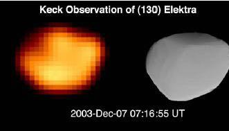 130 Elektra osservazioni Keck II e a destra modello (Durech et alt)